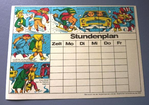 Stundenplan: DDR-Stundenplan zur Verkehrserziehung, Original aus DDR-Produktion, 80er Jahre 1