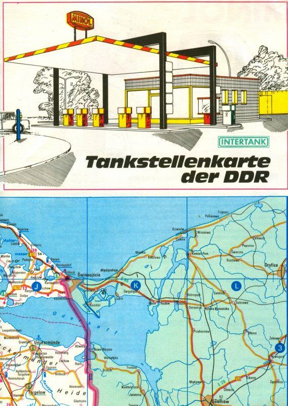 Faltplan: DDR-Faltplan mit den wichtigsten VEB-MINOL-Tankstellen und Service-Stationen, Original aus DDR-Produktion, selten
