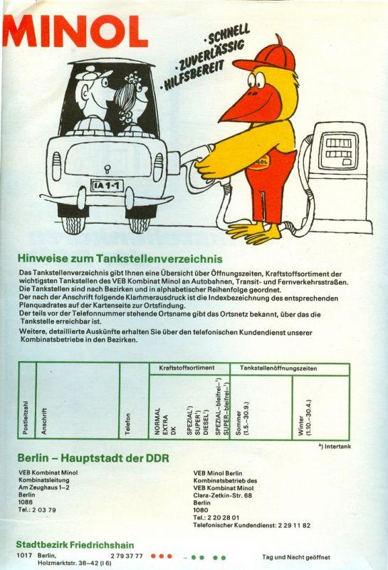 Faltplan: DDR-Faltplan mit den wichtigsten VEB-MINOL-Tankstellen und Service-Stationen, Original aus DDR-Produktion, selten 1