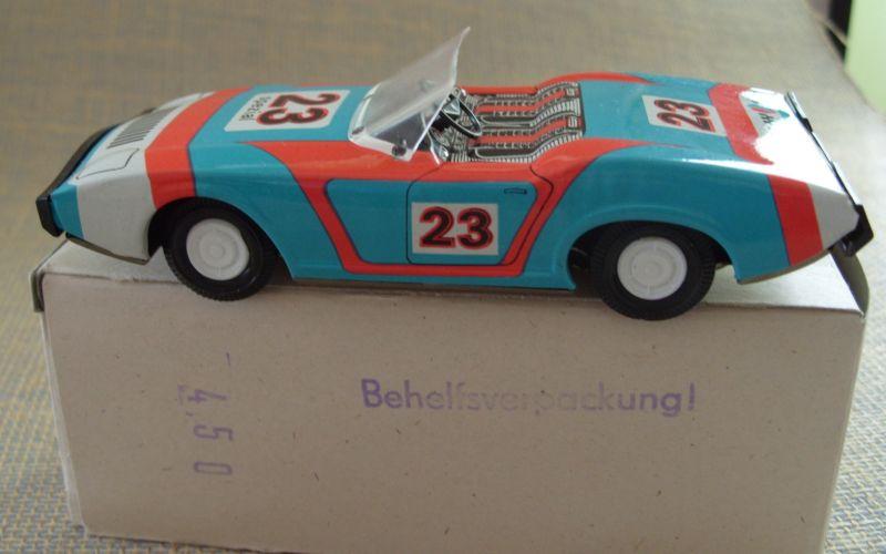 Modellauto: DDR-Modellauto Sportwagen, offen, Ralley 23 oder Ralley 22, Original aus DDR-Produktion, in OVP (Behelfsverpackung)