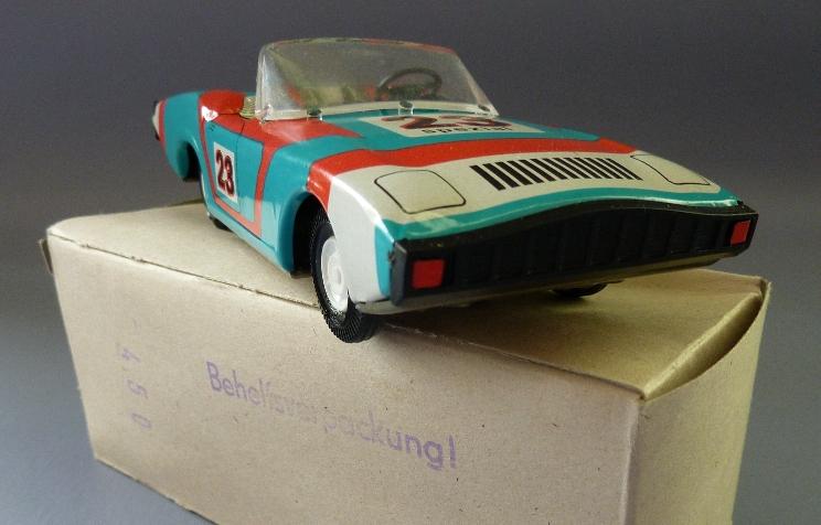 Modellauto: DDR-Modellauto Sportwagen, offen, Ralley 23 oder Ralley 22, Original aus DDR-Produktion, in OVP (Behelfsverpackung) 1