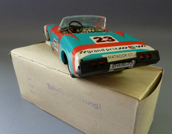 Modellauto: DDR-Modellauto Sportwagen, offen, Ralley 23 oder Ralley 22, Original aus DDR-Produktion, in OVP (Behelfsverpackung) 2