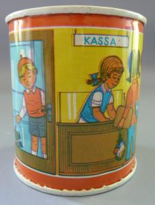 Spardose: DDR-Spardose, Blech, Kinder-Sparkasse, Original aus DDR-Produktion, 80er Jahre