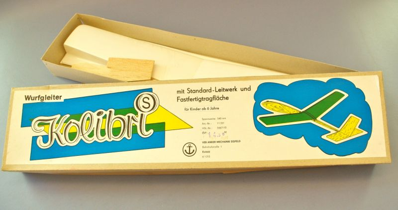 Modellbau: DDR-Modellbausatz - Wurfgleiter Kolibri, VEB Anker Mechanik Eisfeld, OVP, Original aus DDR-Produktion