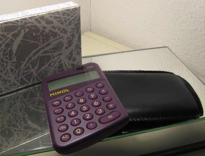 Werbung: DDR-Werbung - Taschenrechner MINOL, Original aus DDR-Produktion, 1990