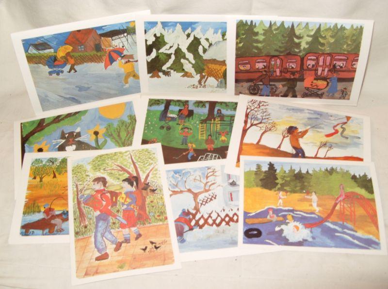 10 farbige Klappkarten - Kinder sehen die Welt, Kinderzeichnungen in Box, DSF, Original aus DDR-Produktion, 80er Jahre