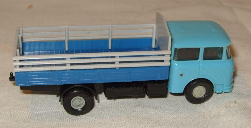 Modellauto: DDR-Modellauto - LKW Skoda mit Lattenaufsatz, H0, VEB Prefo Dresden/ Permot, Original aus DDR-Produktion, 80er Jahre