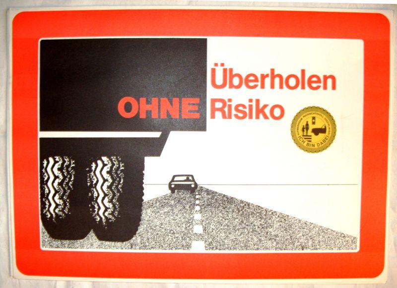 """DDR-Automobilia: Tafelwerk """"Überholen ohne Risiko"""", Original aus DDR-Produktion 1988 0"""