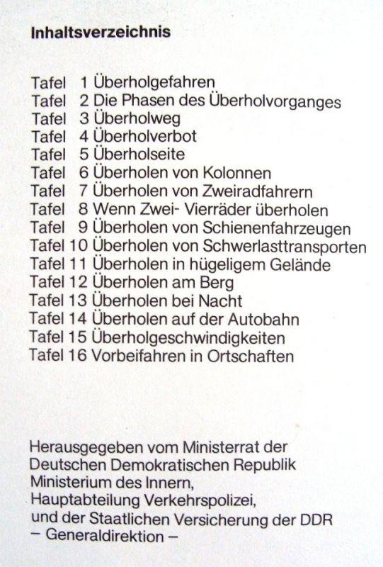 """DDR-Automobilia: Tafelwerk """"Überholen ohne Risiko"""", Original aus DDR-Produktion 1988 1"""