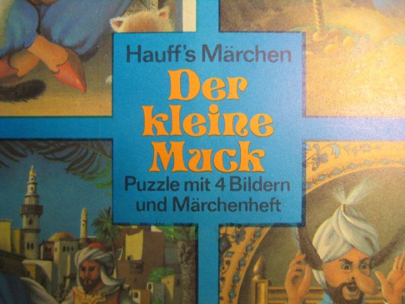 Spielzeug: DDR-Spielzeug - Puzzle Der kleine Muck, 4-tlg. plus Märchen,  VEB Spielzeug-Elektrik Meiningen, Original aus DDR-Produktion, 80er Jahre