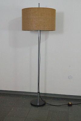 WEST DEUTSCHE STEHLAMPE FLOOR LAMP STAFF CHROM BODENLAMPE 60ER NEUER SCHIRM 0