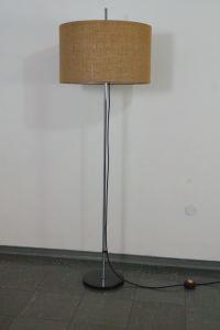 WEST DEUTSCHE STEHLAMPE FLOOR LAMP STAFF CHROM BODENLAMPE 60ER NEUER SCHIRM 1