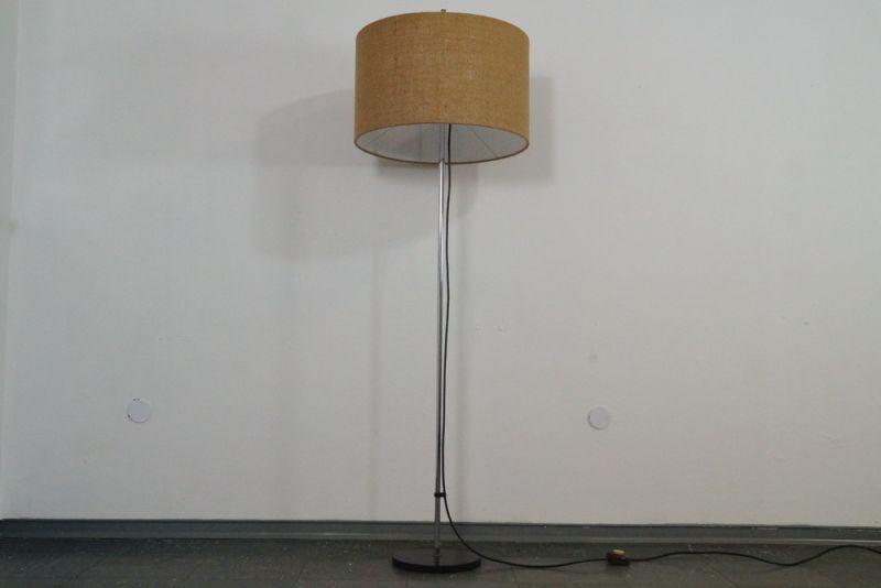 WEST DEUTSCHE STEHLAMPE FLOOR LAMP STAFF CHROM BODENLAMPE 60ER NEUER SCHIRM 3