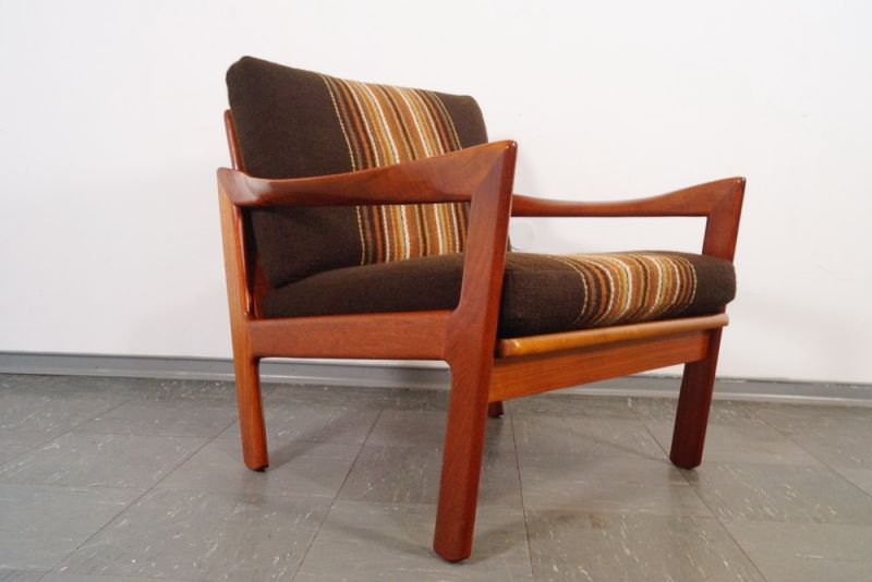 eilersen teak sessel easychair stoff wikkels denmark midcentury modern 60er. Black Bedroom Furniture Sets. Home Design Ideas