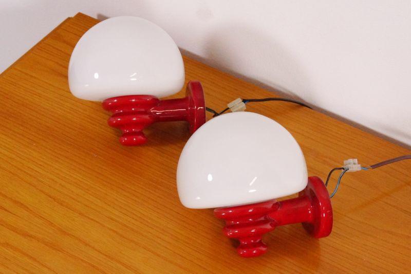 italienische keramik wandleuchten wandlampen lampen rot 60er sixties midcentury nr 291573606336. Black Bedroom Furniture Sets. Home Design Ideas