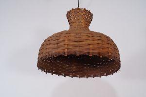 Vintage Deckenlampe Hängelampe RATTAN Esszimmer Küche 60er Rockabilly Ära 1