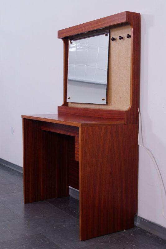 schwedischer teak schmincktisch frisiertisch mit spiegel. Black Bedroom Furniture Sets. Home Design Ideas