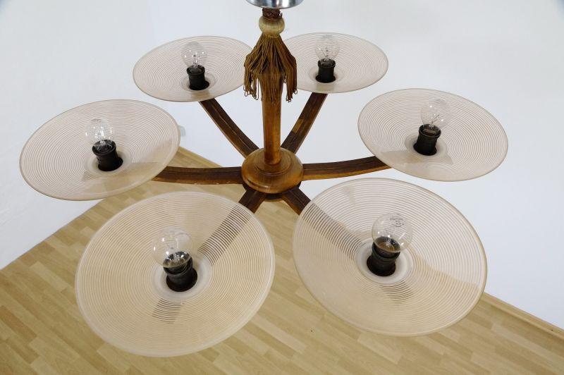art deco deckenlampe aus holz glas aus den 30er 40er. Black Bedroom Furniture Sets. Home Design Ideas