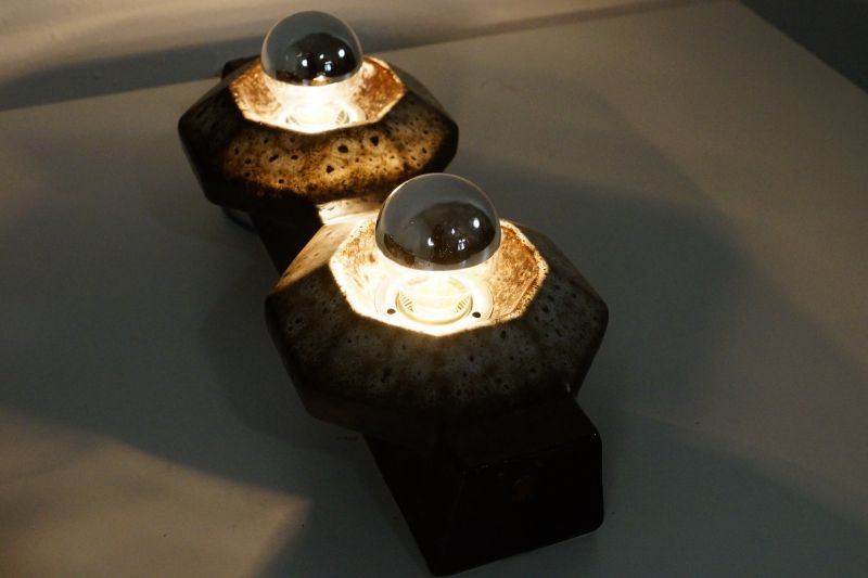 Set  4x Wandlampe Keramiklampe PAN Leuchten Vintage 70er 80er 6