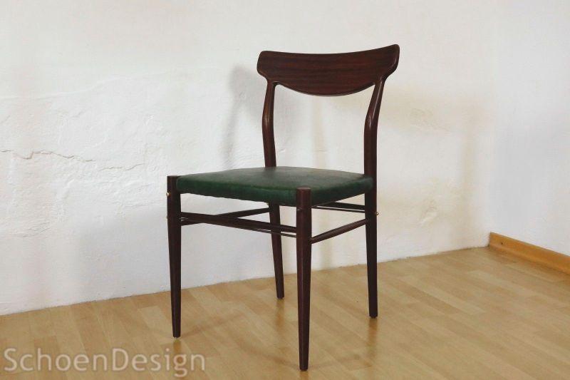 Teak Polsterstuhl Vintage Stuhl Kunstleder Danish Design Midcentury 60er 70er