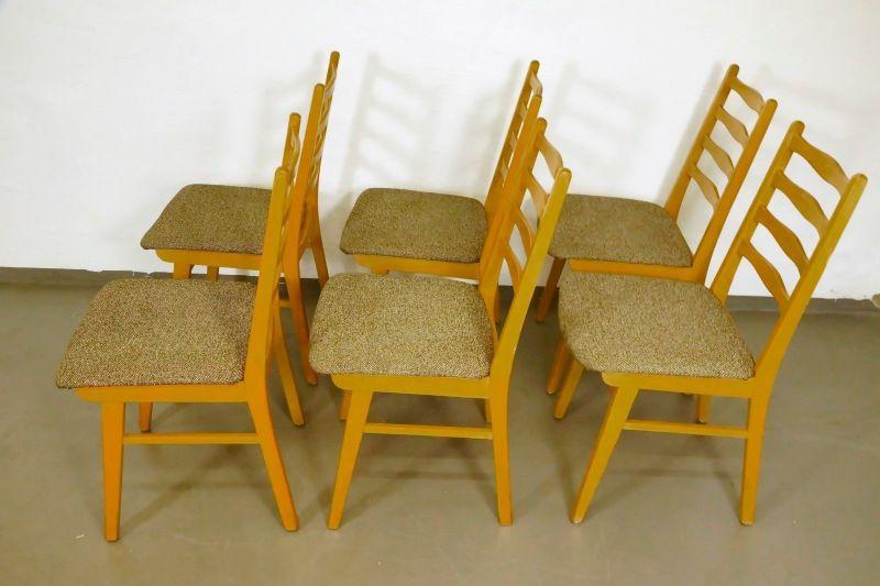 Set 6x Polsterstuhl Esszimmer Stuhl Buche Neu Gepolstert Vintage 50er 60er 2