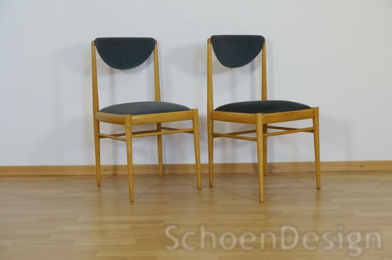 2x Polsterstuhl Esszimmer Stuhl Buche Danish Design Vintage Midcentury 60er 70er