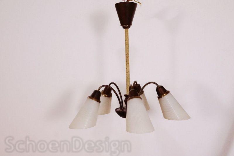 vintage h ngelampe t tenlampe 5 glas t ten holz. Black Bedroom Furniture Sets. Home Design Ideas