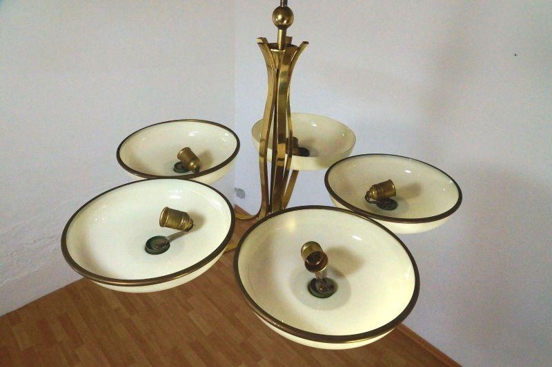 h ngelampe lampe art deco bauhaus messing glas deckenlampe chandelier 30er 40er. Black Bedroom Furniture Sets. Home Design Ideas