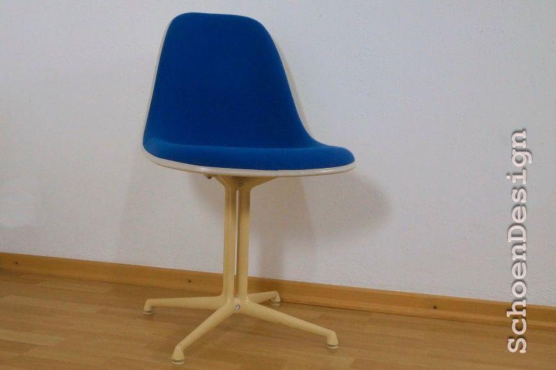 Ch. Eames LA FONDA Side Chair Mit Stoff Blau Herman Miller VITRA 70er  Midcentury 0