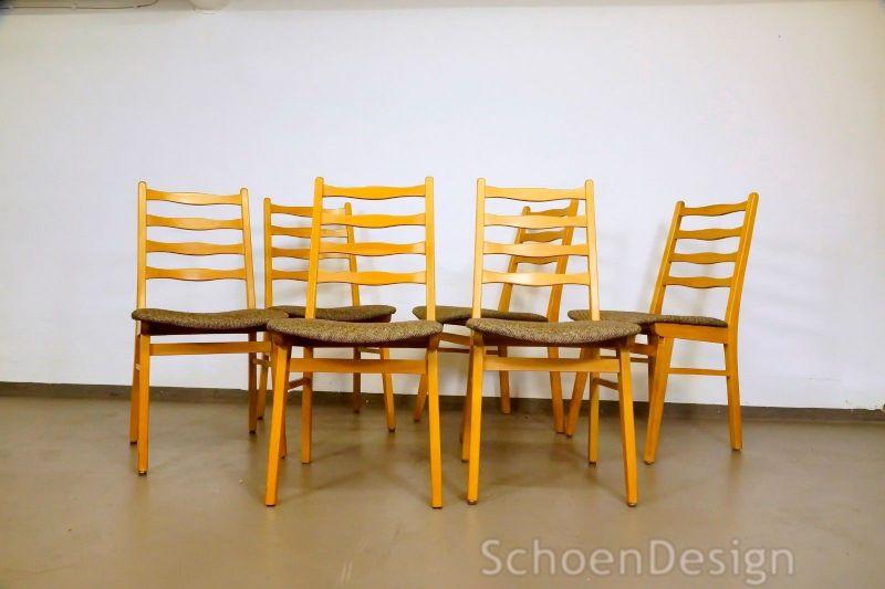 Vintage 6x Polsterstühle Stuhl Buche formschönes Design Stoff Bezug 50er 60er