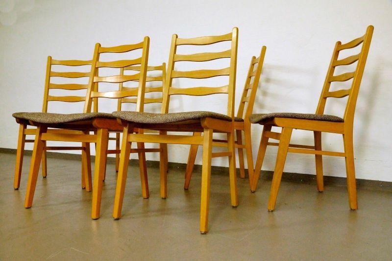 vintage 6x polsterst hle stuhl buche formsch nes design stoff bezug 50er 60er. Black Bedroom Furniture Sets. Home Design Ideas