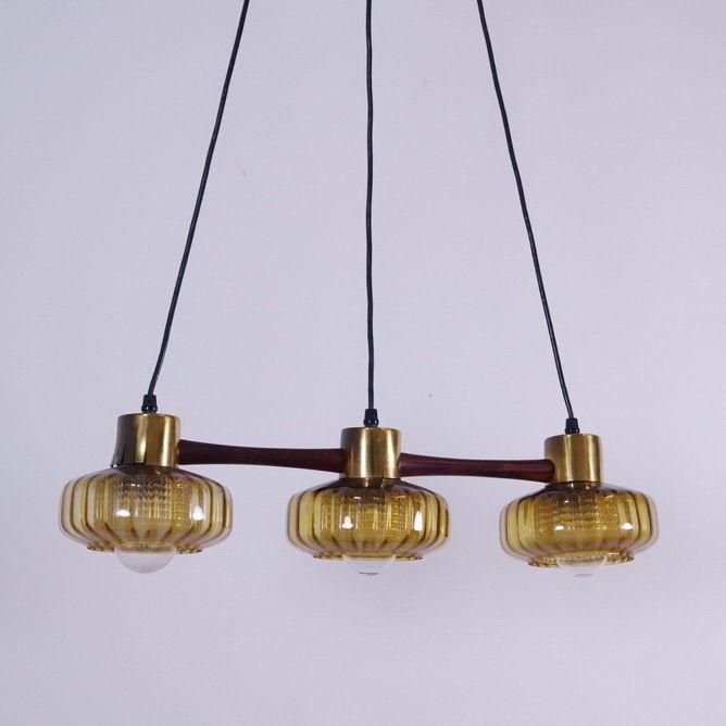 Pendelleuchte Hängelampe Deckenlampe Teak Gelb Glas Schweden Lampe Danish 60er