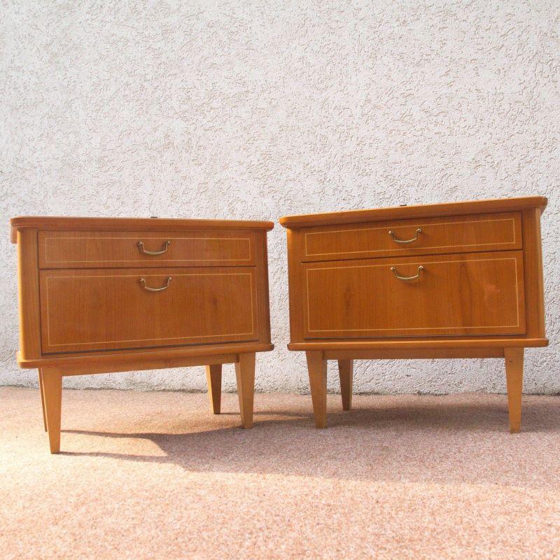 1v2 Vintage Nachtkommode Nachttisch Kommode Kirsche kl Sideboard 50er 60er Jahre