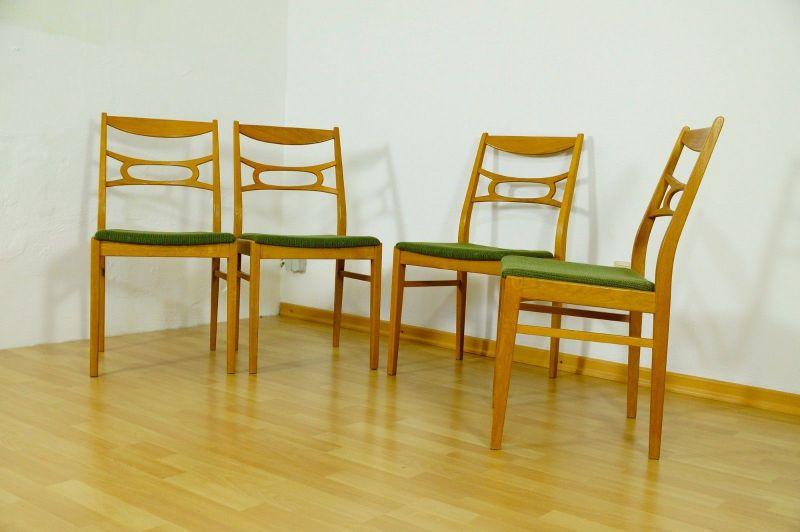 Polsterstuhl Stuhl Eiche gelaugt Schweden Vintage Mid Century 60er 70er 4er Set