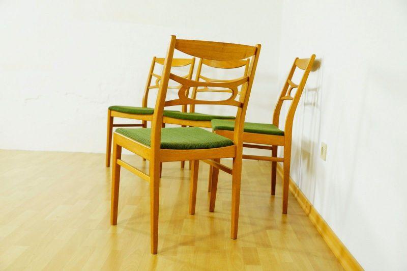 Polsterstuhl Stuhl Eiche gelaugt Schweden Vintage Mid Century 60er 70er 4er Set 1