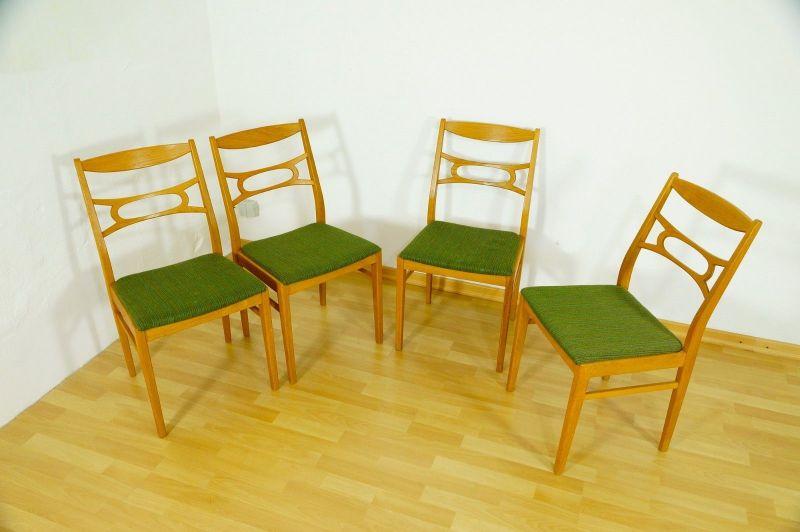 Polsterstuhl Stuhl Eiche gelaugt Schweden Vintage Mid Century 60er 70er 4er Set 2