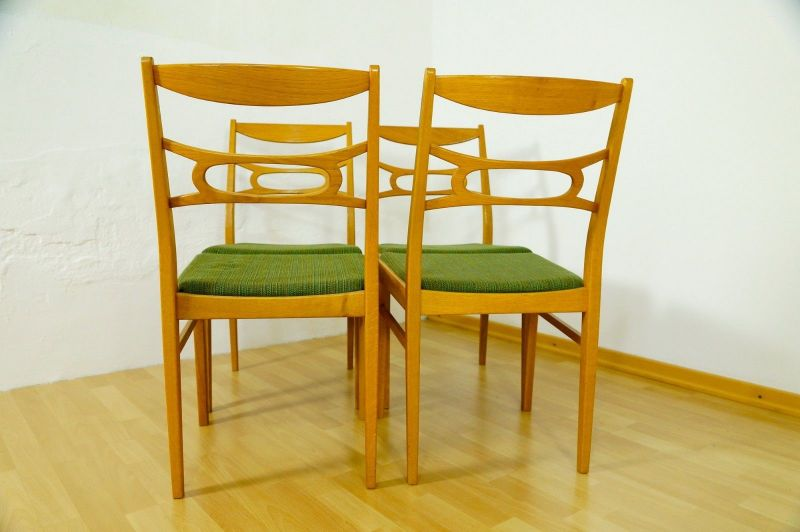 Polsterstuhl Stuhl Eiche gelaugt Schweden Vintage Mid Century 60er 70er 4x Oak 3