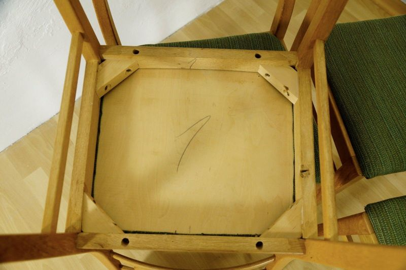 Polsterstuhl Stuhl Eiche gelaugt Schweden Vintage Mid Century 60er 70er 4x Oak 5