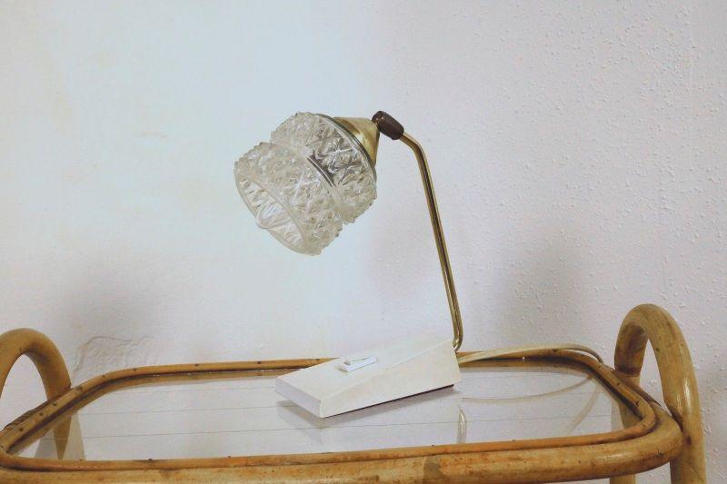 Vintage Nachttisch Lampe Tischlampe Messing TEMDE Glasschirm 50er 60er Jahre