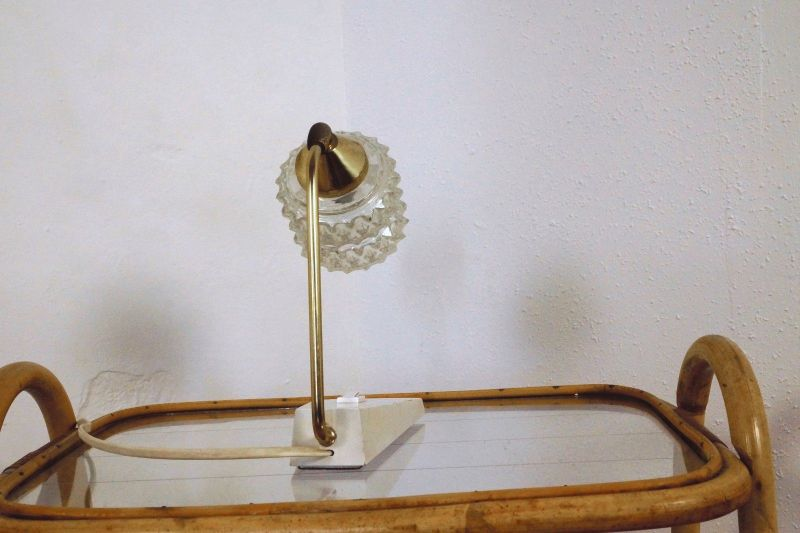 vintage nachttisch lampe tischlampe messing temde. Black Bedroom Furniture Sets. Home Design Ideas