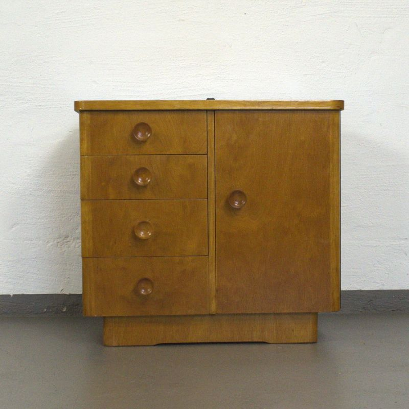 1v2 vintage nachtkommode nachttisch kommode kirsche kleines sideboard 50er 60er nr 302512304670. Black Bedroom Furniture Sets. Home Design Ideas