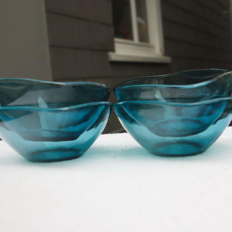 4 GLASSCHALEN SCHÄLCHEN TURMALIN GLAS FRANKREICH VINTAGE MID CENTURY 60ER 70ER