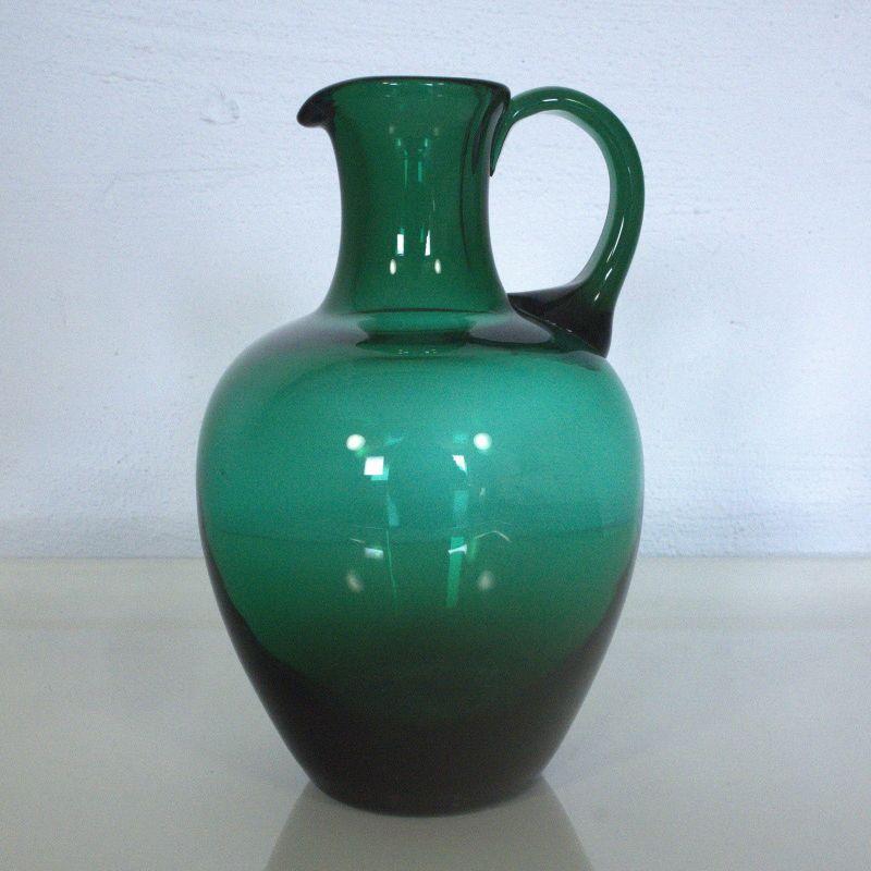 VINTAGE GLASVASE GLASKRUG ÄHNL TURMALIN MID CENTURY 60ER JAHRE VASE KRUG GRÜN