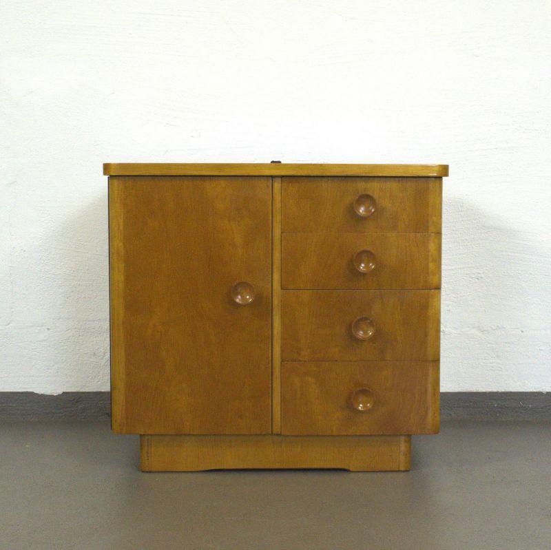 Vintage Kommode Schränkchen Nachtkommode Nachttisch  Art Deco 40er 50er Jahre #2