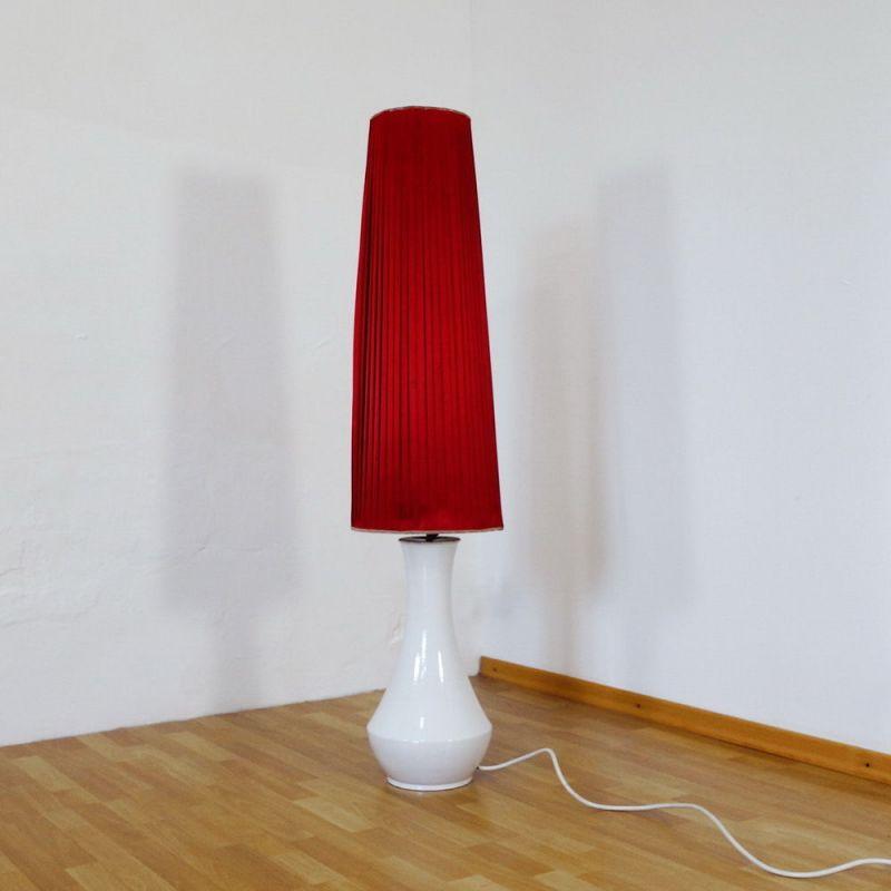 Vintage Bodenlampe Stehleuchte Keramik Weiss Stoff Schirm Rot 60er 70er Design