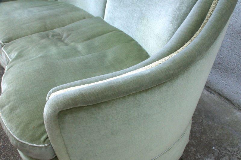 50er 60er Vintage Sofa Couch Loveseat Velours grün Italien Stil Zweisitzer rund 3