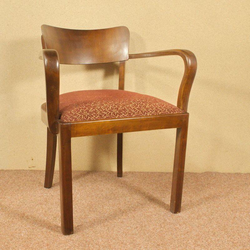 Art Deco Stuhl Schreibtischstuhl Armlehnenstuhl Vintage Federkern 40er Braun