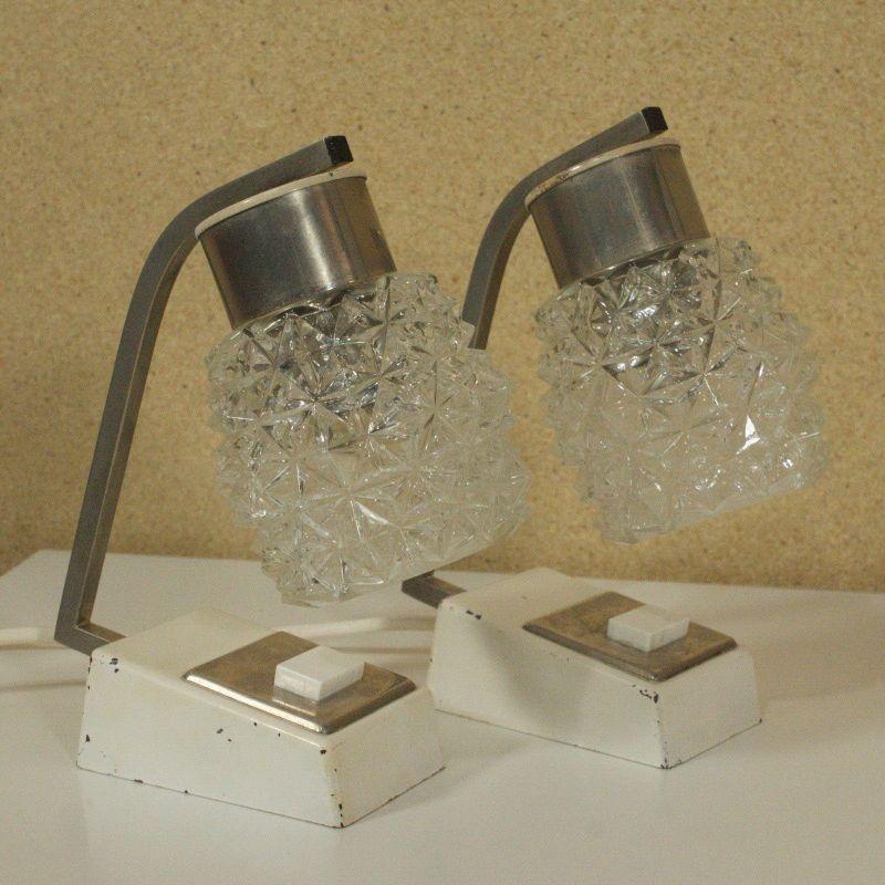 2 weisse Nachttisch Lampen verchromt Glasschirm Vintage Licht 50er SCHOENDESIGN