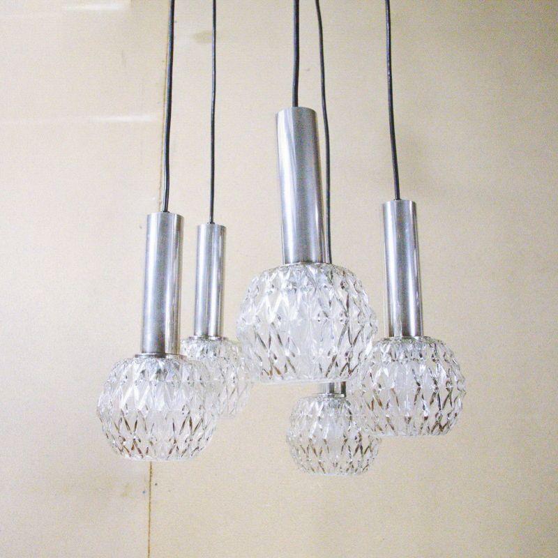 MID CENTURY klare Deckenlampe Kaskadenlampe HILLEBRAND LEUCHTEN Chrom 60er 70er
