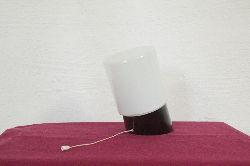 Vintage Badlampe Wandlampe im Stil von W. Wagenfeld mit weißem Glas. 60er Design